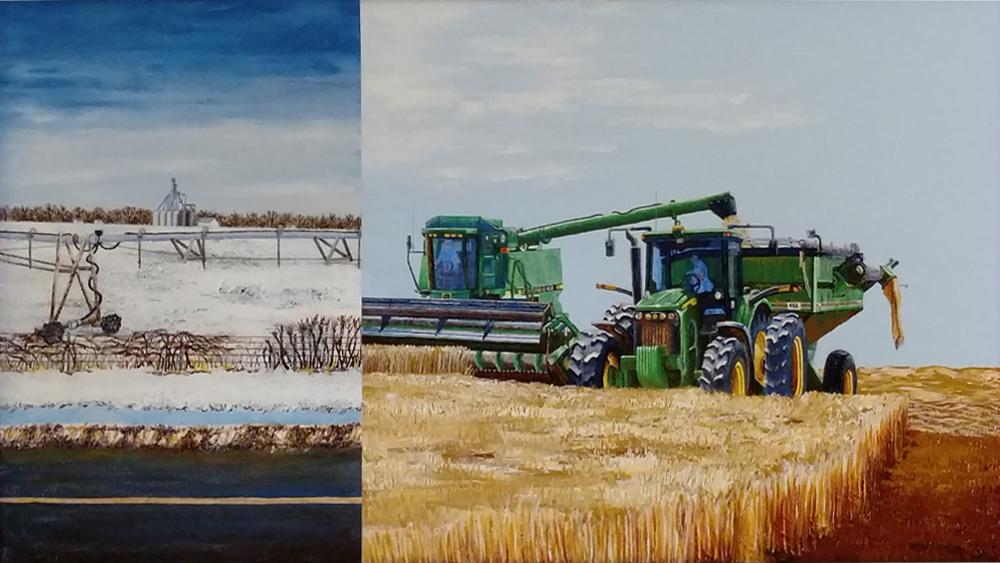 harvest, snow, wheat, field, machinery, combine, tractor, winter, farm